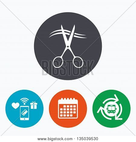 Scissors cut hair sign icon. Hairdresser or barbershop symbol. Mobile payments, calendar and wifi icons. Bus shuttle.