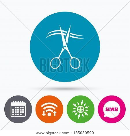 Wifi, Sms and calendar icons. Scissors cut hair sign icon. Hairdresser or barbershop symbol. Go to web globe.