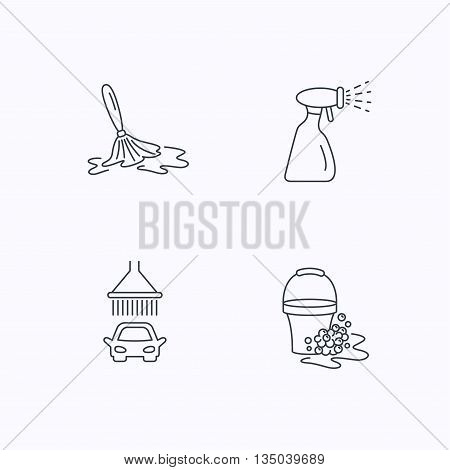 Car wash icons. Automatic cleaning station linear signs. Bucket with foam bubbles, spray flat line icons. Flat linear icons on white background. Vector