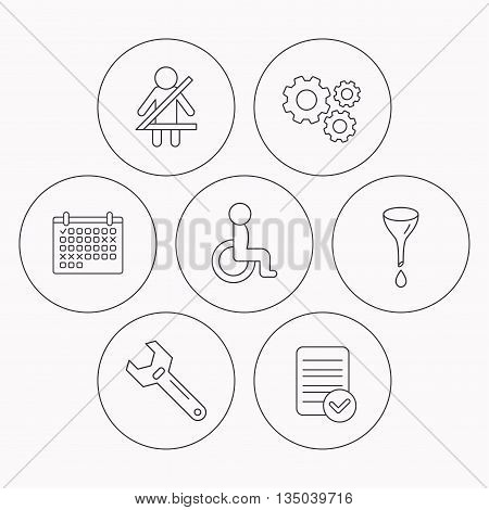 Seat belt, oil change and wrench tool icons. Disabled person linear sign. Check file, calendar and cogwheel icons. Vector