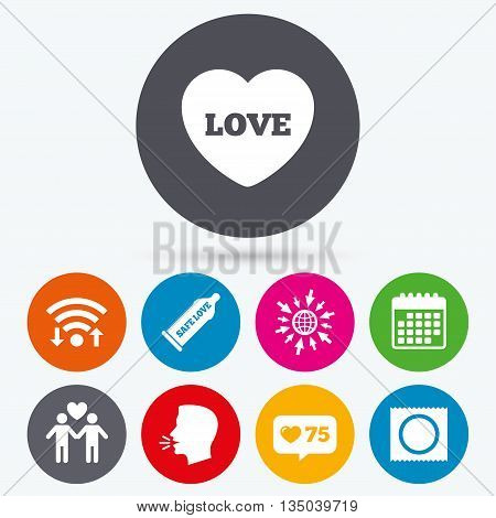 Wifi, like counter and calendar icons. Condom safe sex icons. Lovers Gay couple signs. Male love male. Heart symbol. Human talk, go to web.
