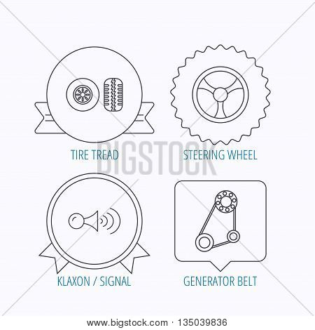 Klaxon signal, tire tread and steering wheel icons. Generator belt linear sign. Award medal, star label and speech bubble designs. Vector