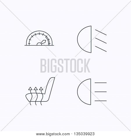 Speedometer, passing fog lights and heated seat icons. High beams linear sign. Flat linear icons on white background. Vector