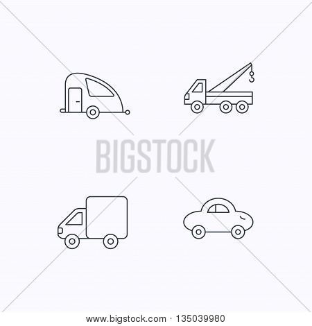 Car, delivery truck and evacuator icons. Travel van linear signs. Flat linear icons on white background. Vector
