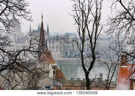 View along the Danube river in Budapest, Hungary