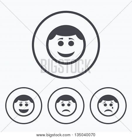 Circle smile face icons. Happy, sad, cry signs. Happy smiley chat symbol. Sadness depression and crying signs. Icons in circles.