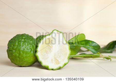 Bergamots (Other names are Kaffir lime Citrus Magnoliophyta Bergamot Rutaceae) fruits with leaf
