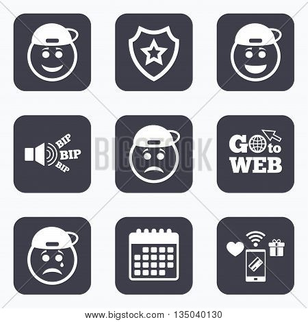 Mobile payments, wifi and calendar icons. Rapper smile face icons. Happy, sad, cry signs. Happy smiley chat symbol. Sadness depression and crying signs. Go to web symbol.