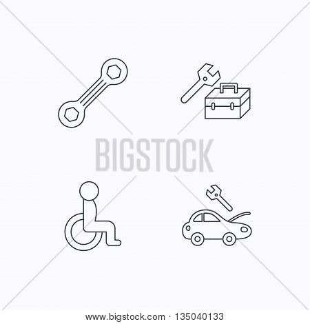 Repair toolbox, spanner tool and car service icons. Disabled person linear sign. Flat linear icons on white background. Vector