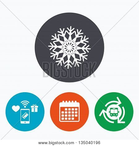 Snowflake artistic sign icon. Christmas and New year winter symbol. Air conditioning symbol. Mobile payments, calendar and wifi icons. Bus shuttle.