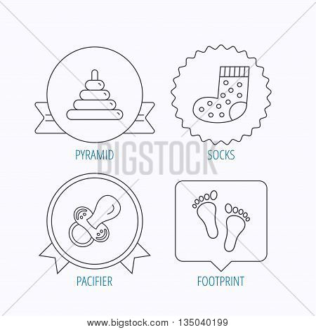 Footprint, pacifier and socks icons. Pyramid toy linear sign. Award medal, star label and speech bubble designs. Vector