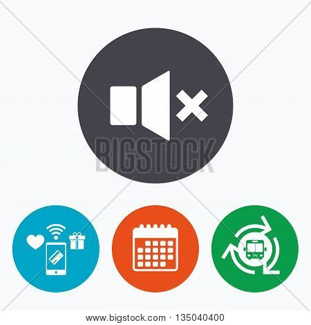 Mute speaker sign icon. Sound symbol. Mobile payments, calendar and wifi icons. Bus shuttle.