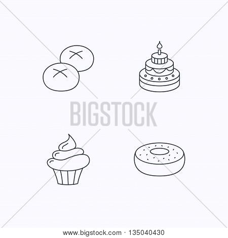 Cupcake, cake and bread rolls icons. Sweet donut linear sign. Flat linear icons on white background. Vector