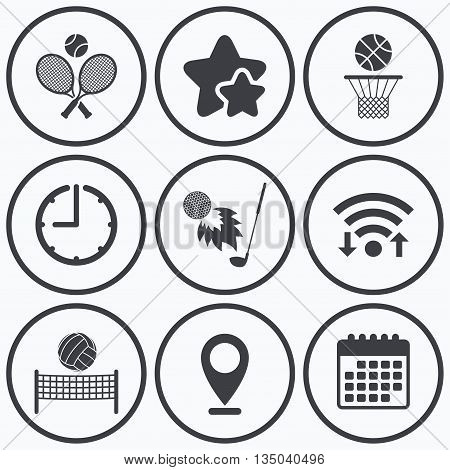 Clock, wifi and stars icons. Tennis rackets with ball. Basketball basket. Volleyball net with ball. Golf fireball sign. Sport icons. Calendar symbol.