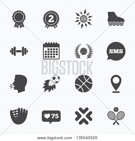 Calendar, go to web and like counter. Sport games, fitness icons. Football, basketball and volleyball signs. Dumbbell, baseball and winner award symbols. Sms speech bubble, talk symbols.
