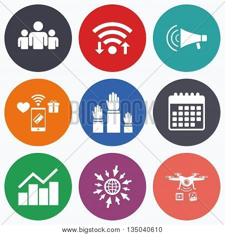 Wifi, mobile payments and drones icons. Strike group of people icon. Megaphone loudspeaker sign. Election or voting symbol. Hands raised up. Calendar symbol.