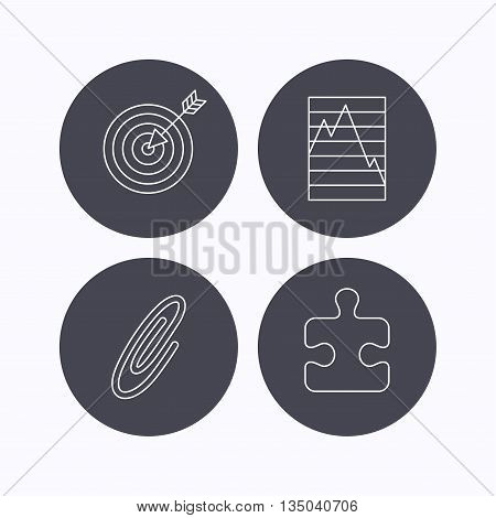 Puzzle, graph charts and target icons. Safety pin linear sign. Flat icons in circle buttons on white background. Vector