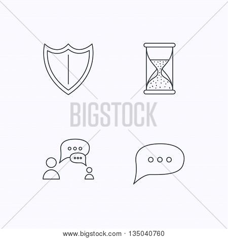 Dialog, chat speech bubbles and shield icons. Protection, hourglass linear signs. Flat linear icons on white background. Vector