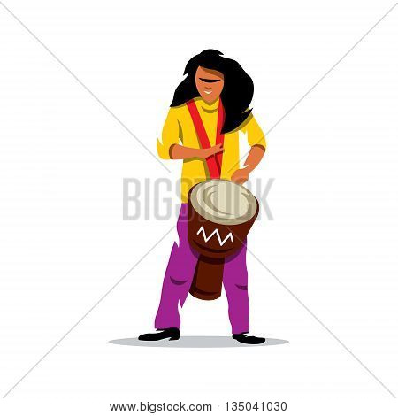 Brazilian man playing a Djembe. Isolated on a White Background