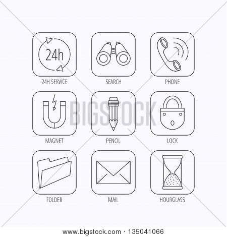 Phone call, pencil and mail icons. Search, 24h support and folder linear signs. Hourglass, magnet energy flat line icons. Flat linear icons in squares on white background. Vector