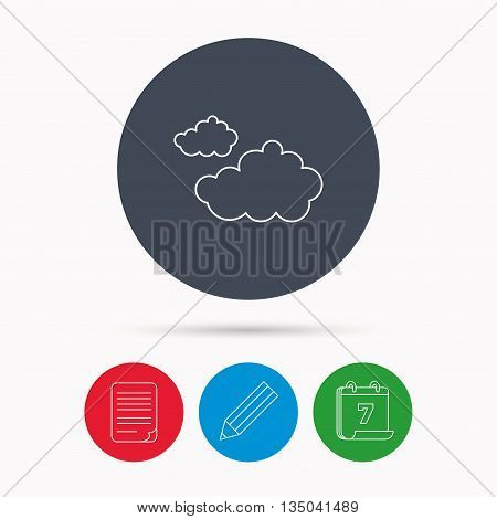 Cloudy icon. Overcast weather sign. Meteorology symbol. Calendar, pencil or edit and document file signs. Vector