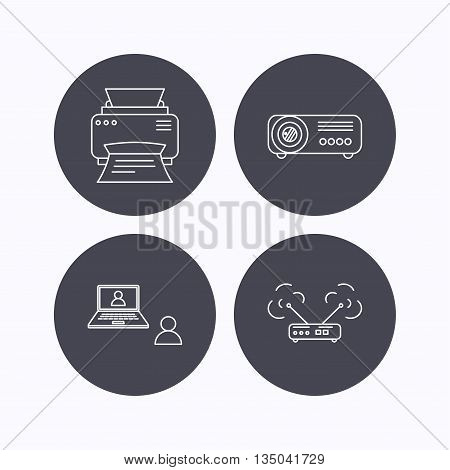 Projector, printer and wi-fi router icons. Video chat linear sign. Flat icons in circle buttons on white background. Vector