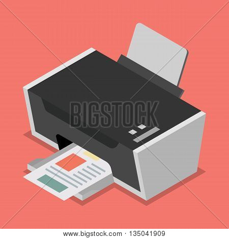 Printer flat style isometric. Vector illustration flat style