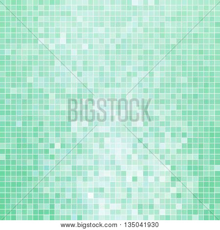 abstract vector square pixel mosaic background - light teal