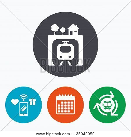 Underground sign icon. Metro train symbol. Mobile payments, calendar and wifi icons. Bus shuttle.