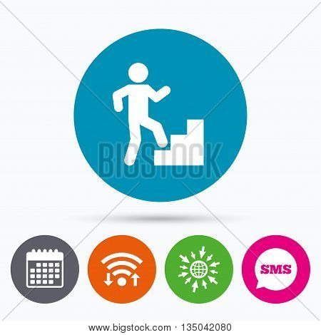 Wifi, Sms and calendar icons. Upstairs icon. Human walking on ladder sign. Go to web globe.