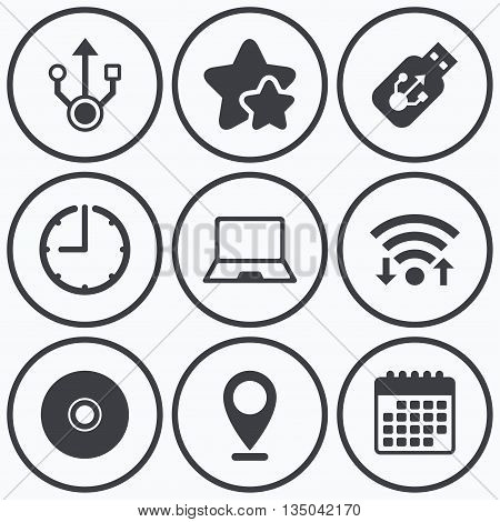 Clock, wifi and stars icons. Usb flash drive icons. Notebook or Laptop pc symbols. CD or DVD sign. Compact disc. Calendar symbol.