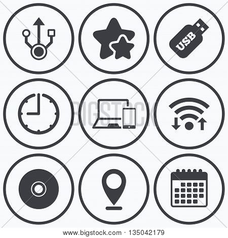 Clock, wifi and stars icons. Usb flash drive icons. Notebook or Laptop pc symbols. Smartphone device. CD or DVD sign. Compact disc. Calendar symbol.
