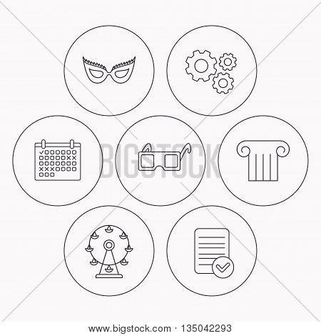 Mask, 3d glasses and column icons. Ferris wheel linear sign. Check file, calendar and cogwheel icons. Vector