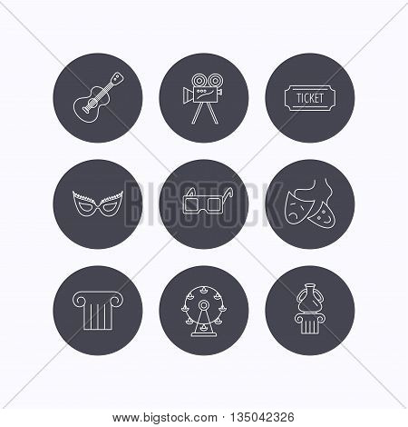 Museum, guitar music and theater masks icons. Ticket, video camera and 3d glasses linear signs. Entertainment, antique column icons. Flat icons in circle buttons on white background. Vector