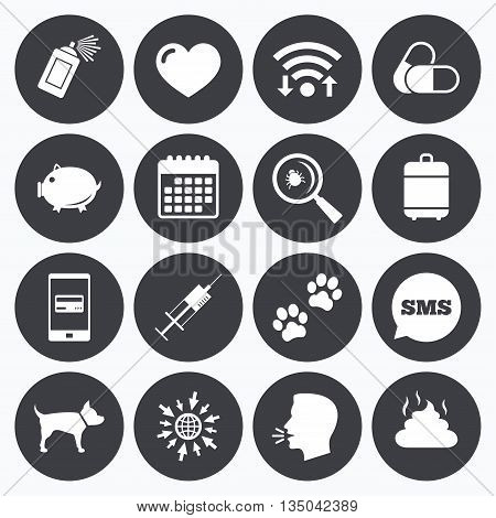 Wifi, calendar and mobile payments. Veterinary, pets icons. Dog paws, syringe and magnifier signs. Pills, heart and feces symbols. Sms speech bubble, go to web symbols.