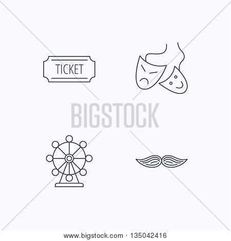 Ferris wheel, ticket and theater masks icons. Mustache linear sign. Flat linear icons on white background. Vector