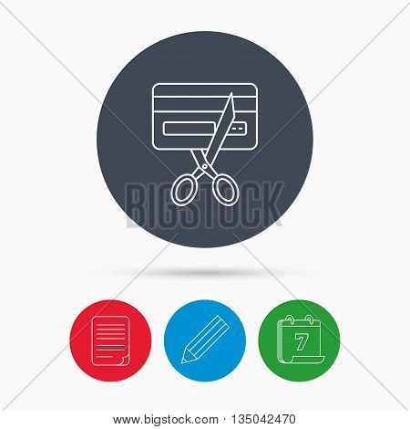 Expired credit card icon. Shopping sign. Calendar, pencil or edit and document file signs. Vector