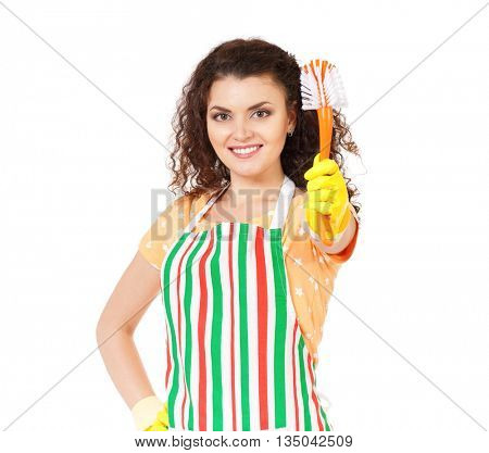 Portrait of cleaning woman having fun during cleaning, isolated on white background
