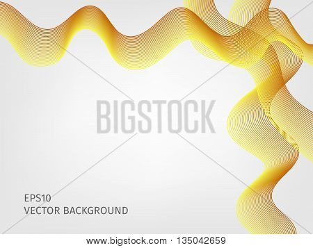 abstract vector waved line background - golden yellow