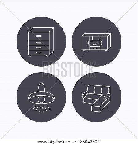 Corner sofa, ceiling lamp and chest of drawers icons. Furniture linear signs. Flat icons in circle buttons on white background. Vector
