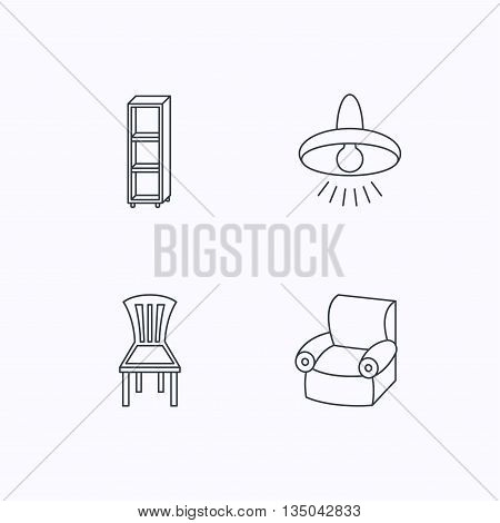 Chair, ceiling lamp and armchair icons. Shelving linear sign. Flat linear icons on white background. Vector