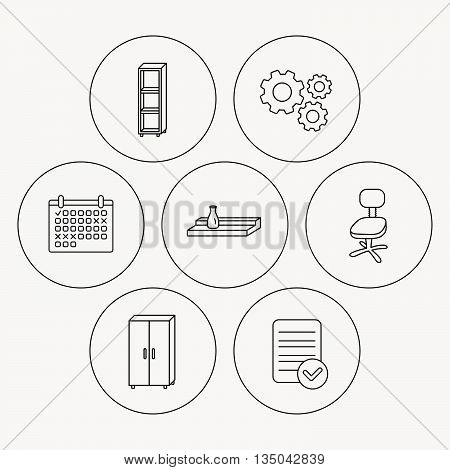 Office chair, cupboard and shelving icons. Wall shelf linear sign. Check file, calendar and cogwheel icons. Vector