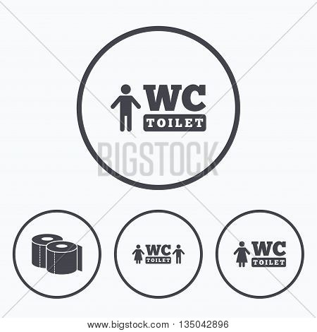 Toilet paper icons. Gents and ladies room signs. Man and woman symbols. Icons in circles.