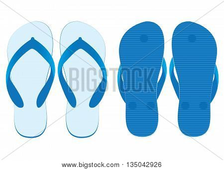 Slippers set of front view and back view isolated on white background. White slippers Design.