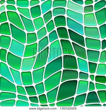 abstract vector stained-glass mosaic background - green and teal circles
