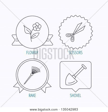 Scissors, flower and shovel icons. Rake linear sign. Award medal, star label and speech bubble designs. Vector