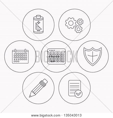 Battery, pencil and protection shield icons. Vacation calendar linear sign. Check file, calendar and cogwheel icons. Vector