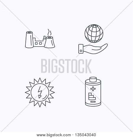 Save planet, factory and battery icons. Solar energy linear sign. Flat linear icons on white background. Vector