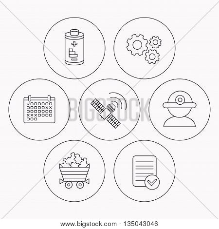 Worker, minerals and GPS satellite icons. Battery linear sign. Check file, calendar and cogwheel icons. Vector