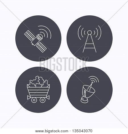 Telecommunication, minerals and antenna icons. GPS satellite linear sign. Flat icons in circle buttons on white background. Vector